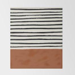 Burnt Orange x Stripes Throw Blanket