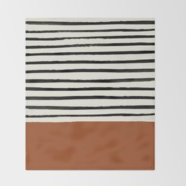 Burnt Orange x Stripes Throw Blanket
