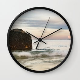 Pastel Moon rise at the beach Wall Clock