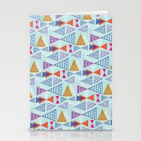 mid century modern Stationery Cards featuring Geometric Mid Century Modern Triangles 2 by Ryan Deighton