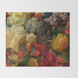 """Baroque Spring of Flowers and Butterflies"" Throw Blanket"