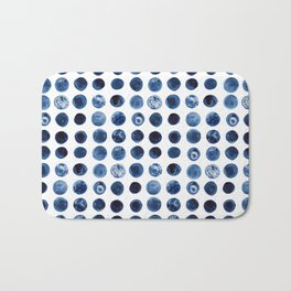 Indigo Circles Watercolor Pattern Bath Mat