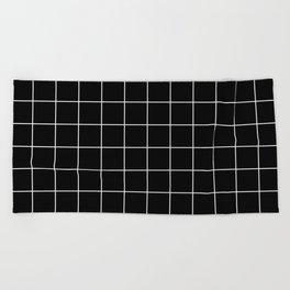 Grid Simple Line Black Minimalistic Beach Towel