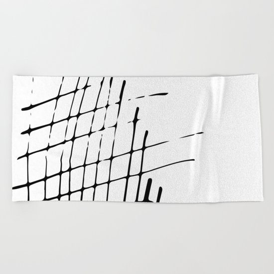 Grid Sketch Black and White Beach Towel
