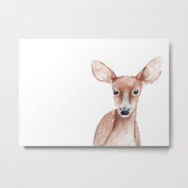 Deer Fawn Watercolor painting Metal Print