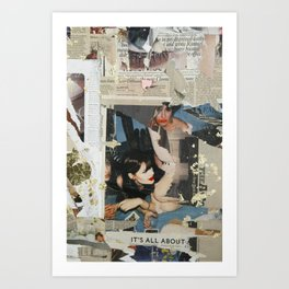 Untitled girl with smeared lipstick Art Print