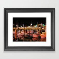Harbor Reflection at Night Framed Art Print
