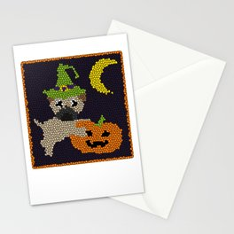 Cute Halloween Pug in Stained Glass Style Stationery Cards