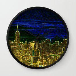 New York Neon Lights Wall Clock