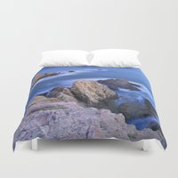 mermaids Duvet Covers featuring Blue Mermaids by Guido Montañés