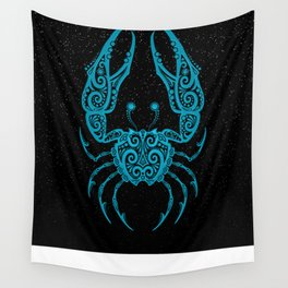 Blue Cancer Zodiac Sign in the Stars Wall Tapestry
