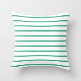 Horizontal Lines (Mint/White) Throw Pillow