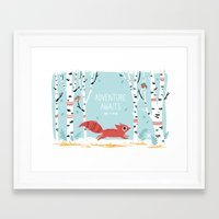adventure Framed Art Prints featuring Adventure Awaits by Freeminds
