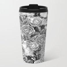 Vintage Roses Black And White Metal Travel Mug