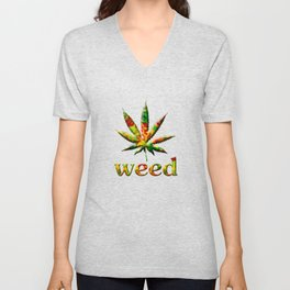 Weed Leaf Graphic Weed Smoking T-shirt Unisex V-Neck