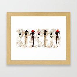 Fashion Illustrations Palm Leaves - Girls in Bikinis Framed Art Print