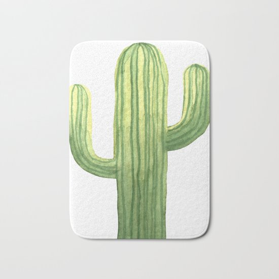 Simple Green Cactus on White Bath Mat