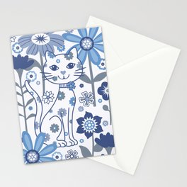 Blue and White Garden Cat Stationery Cards
