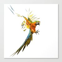 low poly Canvas Prints featuring Low poly Parrot by exya