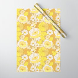 Yellow, Ivory & Brown Retro Flowers Wrapping Paper