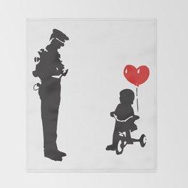Banksy Policeman & girl on bike, Streetart Street Art, Grafitti, Artwork, Design For Men, Women, Kid Throw Blanket
