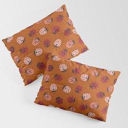 All over Modern Ladybug on burnt orange Background Pillow Sham