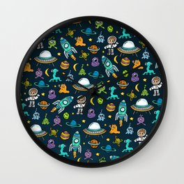 Deep Space, Night Sky, Rocket Ship, UFO, Space Alien, Astronaut, Outer Space Wall Clock