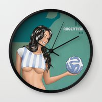 argentina Wall Clocks featuring Argentina by Kingdom Of Calm - Original Art & Illustr