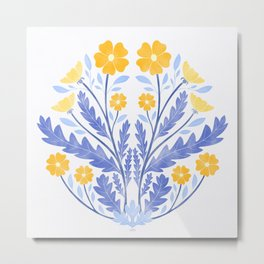 Art Nouveau Illustration / Floral / Circular / Yellow Metal Print