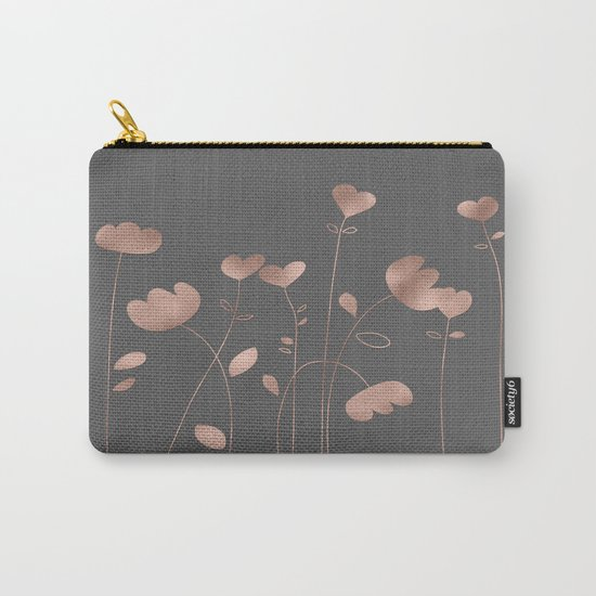 Rosegold pink flowers- floral design- Flower Carry-All Pouch