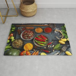 Fresh delicious ingredients for healthy cooking  on rustic background Rug