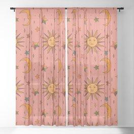 Folk Moon and Star Print Sheer Curtain