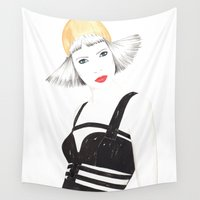 fashion illustration Wall Tapestries featuring Fashion Illustration by Debbie
