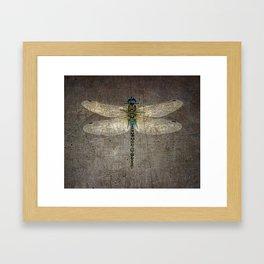 Dragonfly On Distressed Metallic Grey Background Framed Art Print