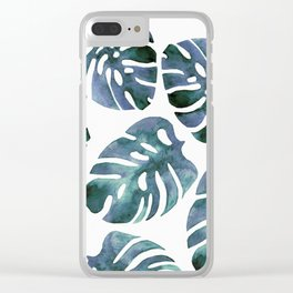 Monstera Blue Clear iPhone Case