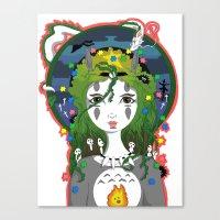 miyazaki Canvas Prints featuring Miyazaki Love by  Dream Illusions