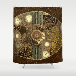 Steampunk, awesome clocks Shower Curtain