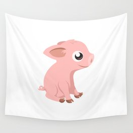Cute Baby Pig Wall Tapestry
