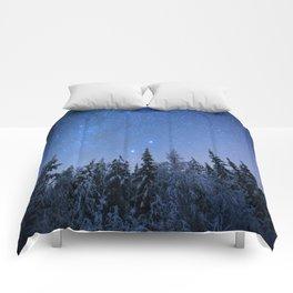 Shimmering Blue Night Sky Stars 2 Comforters