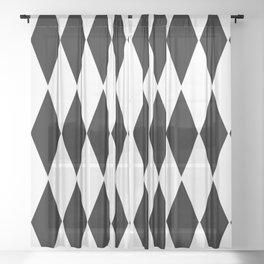 LARGE  WHITE AND BLACK   HARLEQUIN DIAMOND PATTERN Sheer Curtain