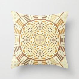 Brownish mandala Throw Pillow