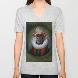 Queen Charlie - Boxer Dog Portrait Unisex V-Neck