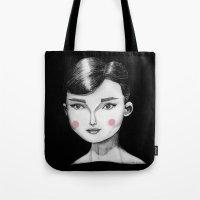 hepburn Tote Bags featuring Audrey Hepburn by Maripili