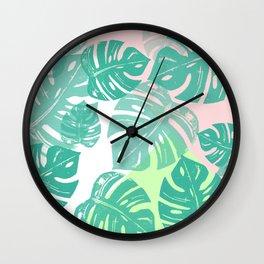 Linocut Monstera Tricolori Wall Clock