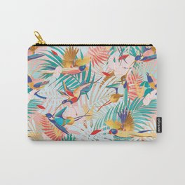 Colorful, Vibrant Paradise Birds and Leaves Carry-All Pouch