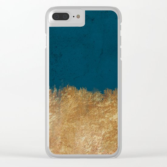 Denim Gold Paint Clear iPhone Case