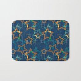 Star . Gold stars on a blue background . Bath Mat