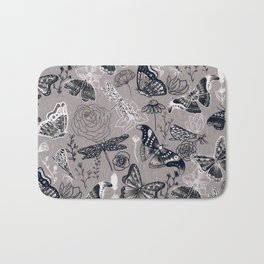 Dragonflies, Butterflies and Moths With Plants on Grey Bath Mat