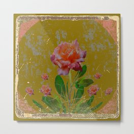 ANTIQUE AVOCADO COLOR  CORAL  PINK ROSES BOTANICAL ART Metal Print