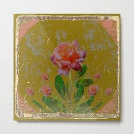 ANTIQUE AVOCADO COLOR  CORAL  PINK ROSES BOTANICAL ART Metal Print